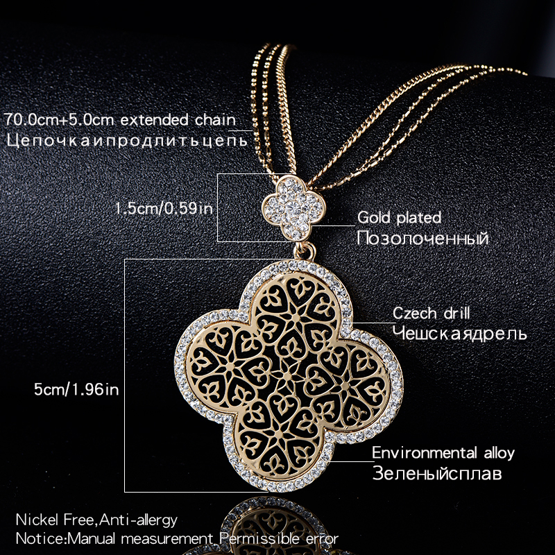 2018 New Four Leaf Clover Necklace Female Silver KC Gold Color Hollow Flower Design Pendant 3 Layer Chain Birthday Gift For Her In Necklaces From