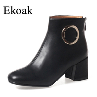 Ekoak New 2017 Fashion Women Boots Round Toe Autumn Ankle Boots Classic High Heels Platform Martin