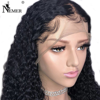 Nemer Brazilian 13x6 Lace Front Human Hair Wigs with Baby Hair 130/150 Density Lace Front Wigs Black Women with Bleached Knots