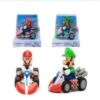 Envío Gratis Lindo Super Mario Bros Kart tira Del Coche Del Pvc Figura de Acción de Juguete 15*10 cm F0166