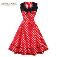 Blu Bianco Rosso Polka Dot Stampato Vintage 50 s Vestito Casuale Plus Size Scollo A V Estate Rappezzatura Casuale Altalena Audrey Hepburn abiti