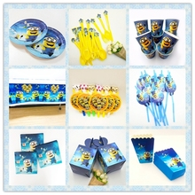 Minions Tableware Yellow Movie Baby Birthday Party Decorations Kids Girl And Boy Disposable Supplies Decoration Set