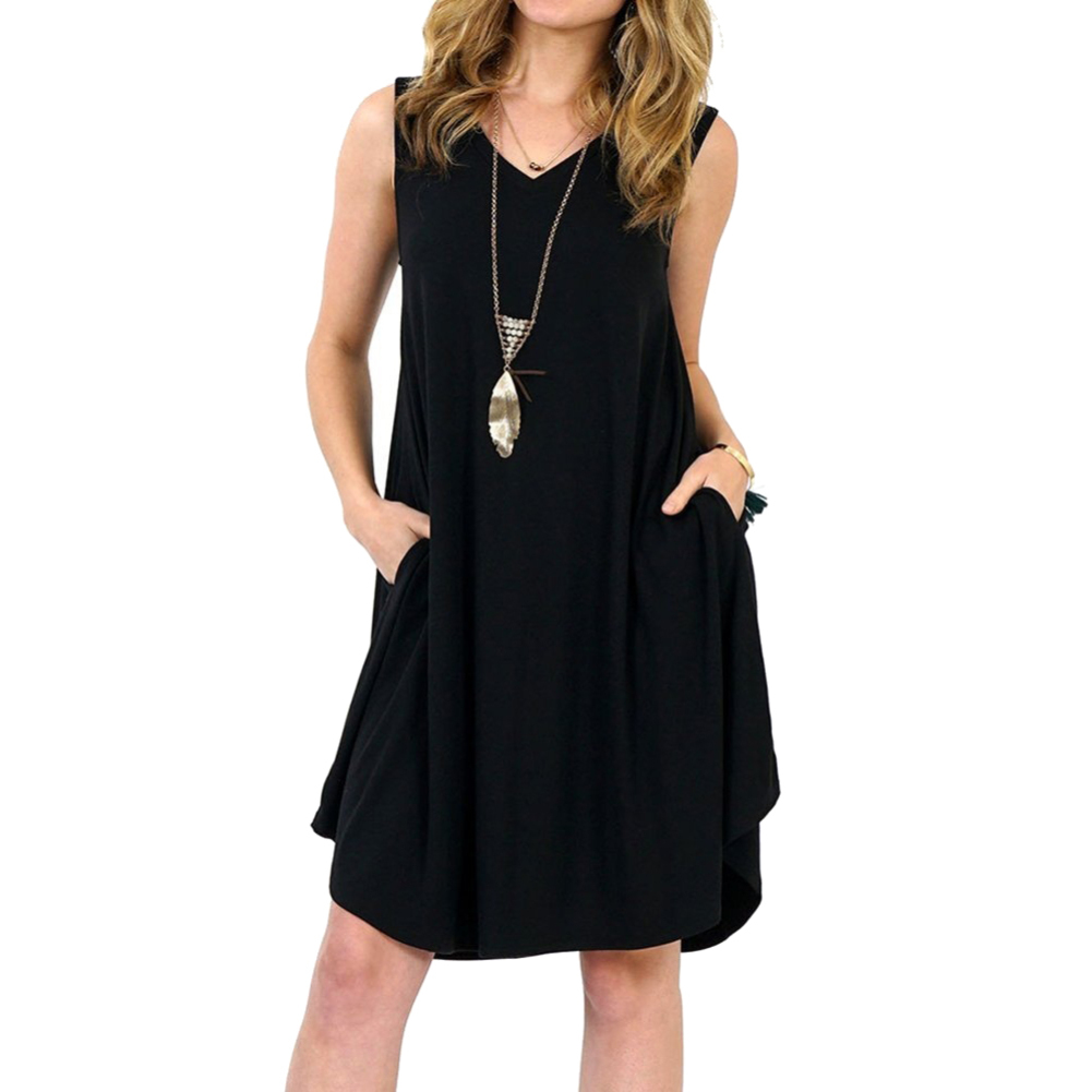 Solid Color Sleeveless Pockets V-neck Sundress Women's Summer Casual Loose Dress fashion plus size 6XL 1
