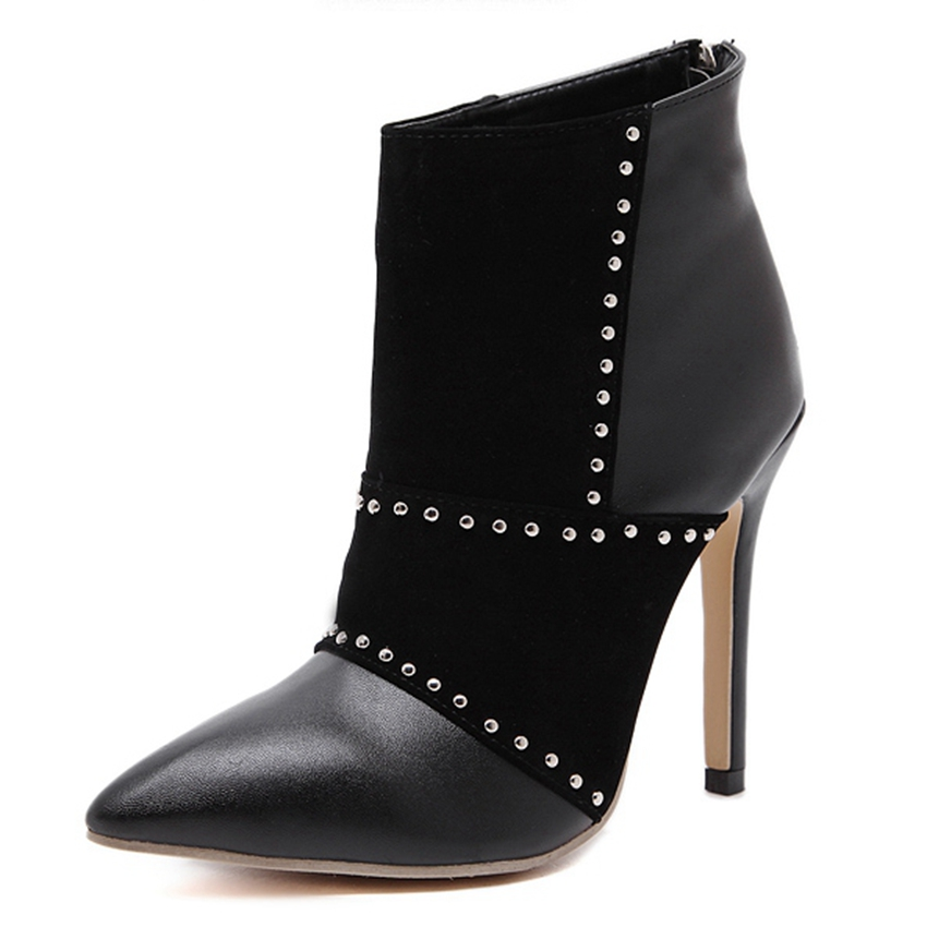 ФОТО Women Fashion Rivet Patchwork Winter Ankle Boots Sexy Pointed Toe High Heels Party Shoes Woman Short Booties Stiletto zg333-19