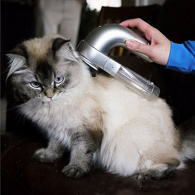 Electric Pet Cat Dog Vacuum Fur Cleaner Hair Remover Puppy Vac Fur Trimmer Grooming Tool