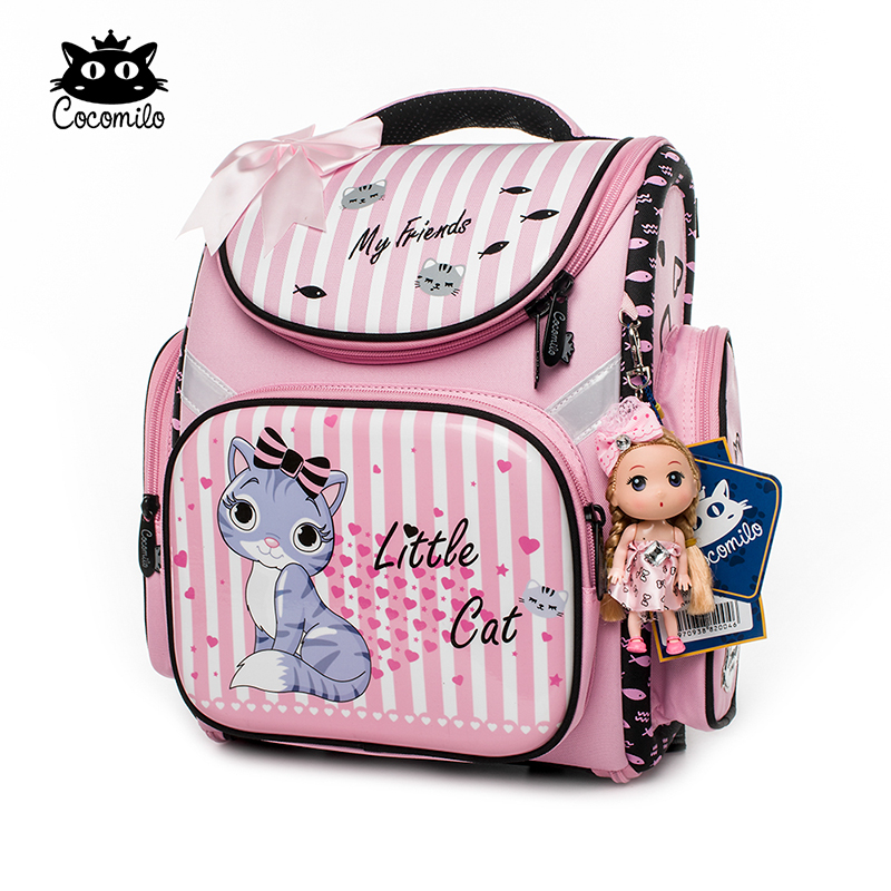 Cocomilo Brand Children New Style Cartoon Cat Girls School Bags Waterproof Foldable Orthopedic School Backpack Kids Cute Bolsas 2018 kids new brand foldable schoolbag girls cute 3d cartoon school bags children orthopedic waterproof school backpack for boys