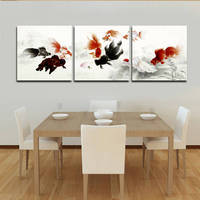 2016 Top Fashion Real Square Oil No Canvas Art Free Shipping Chinese Koi Fish Wall Art Canvas Home Decorate Paintings 3 Piece