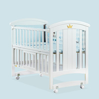 Crib baby cradle bed with roller solid wood European multi function BB game bed newborn baby bed