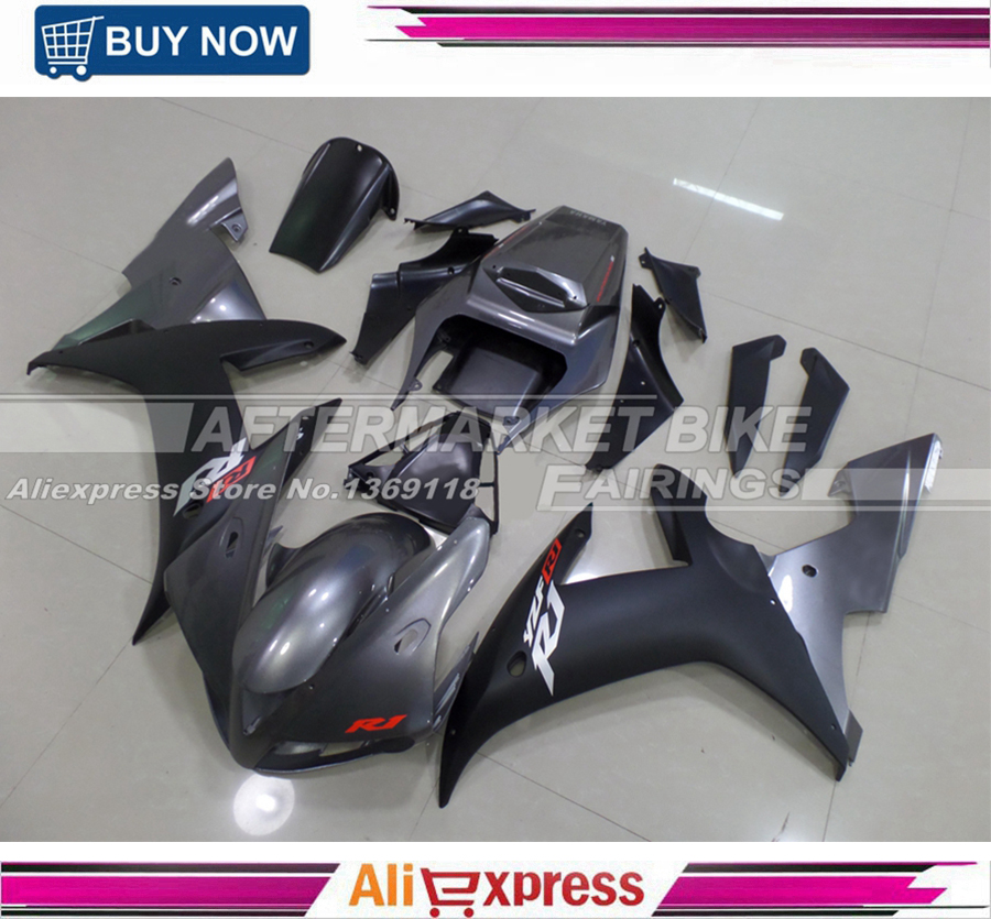 Full Fairings Fit Yamaha R1 02 03 YZF-R1 Year 2002 2003 ABS Injection Motorcycle Fairing Kit ABS Bodywork Dark Grey Matte Black injection molding bodywork fairings set for yamaha r6 2008 2014 blue black full fairing kit yzf r6 08 09 14 zb83