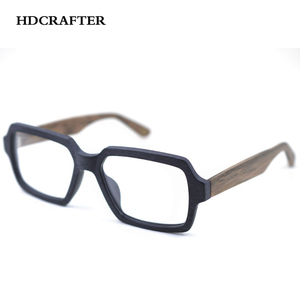 Image 2 - HDCRAFTER Vintage/Retro Eyeglasses frames Wood Women Men Oversized Prescription Optical Frames Glasses Spectacles Eyewear