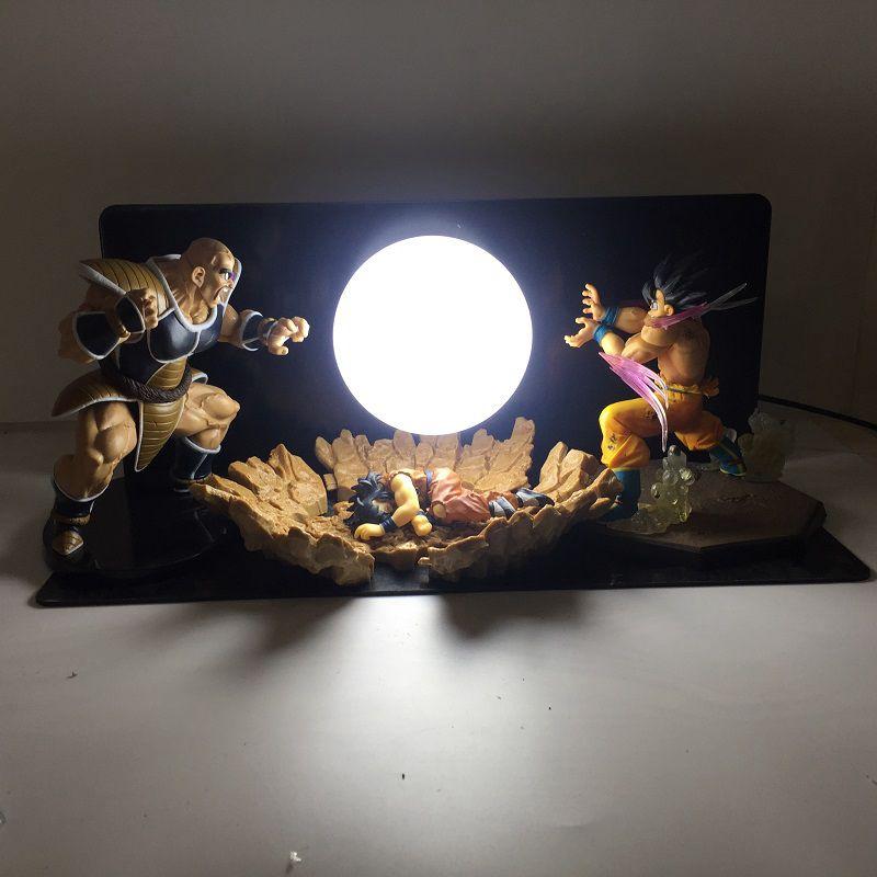 Nueva Bola de Dragón modelo de tres personas bombas Luminaria Led luz de noche vacaciones regalo habitación decorativa lámpara Led en enchufe de EE. UU. Lámpara colgante mono de oro blanco y negro de resina para sala de estar lámparas de habitación Sala de Arte sala de estudio luces Led lustre con bombilla Led E27