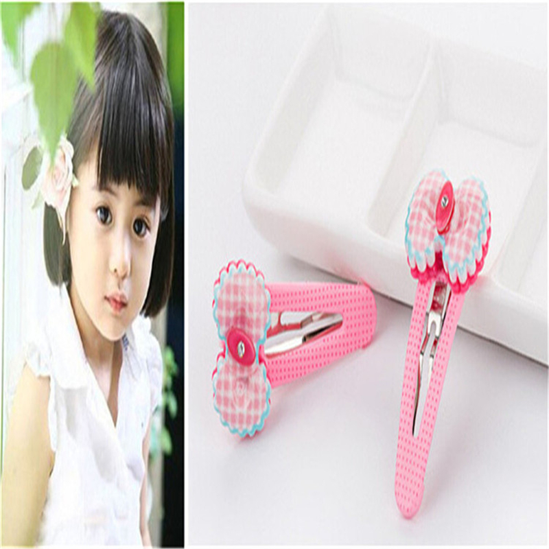 Kawaii Crystal BB Hairpin Fabric Flowers Bow Candy Color Children Girls Hair Clips Headbands Baby Barrette Resin Hairpins (6Pcs)
