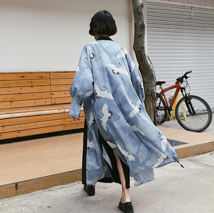 Woman Coat Japanese Kimono Cardigan Kimono Yukata Woman Thin Loose Long Outer Garment