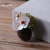 GLSEEVO натуральный янтарь перидот и жемчуг брошь контакты основа цветочные броши для Для женщин аксессуары двойной Применение Роскошные Fine