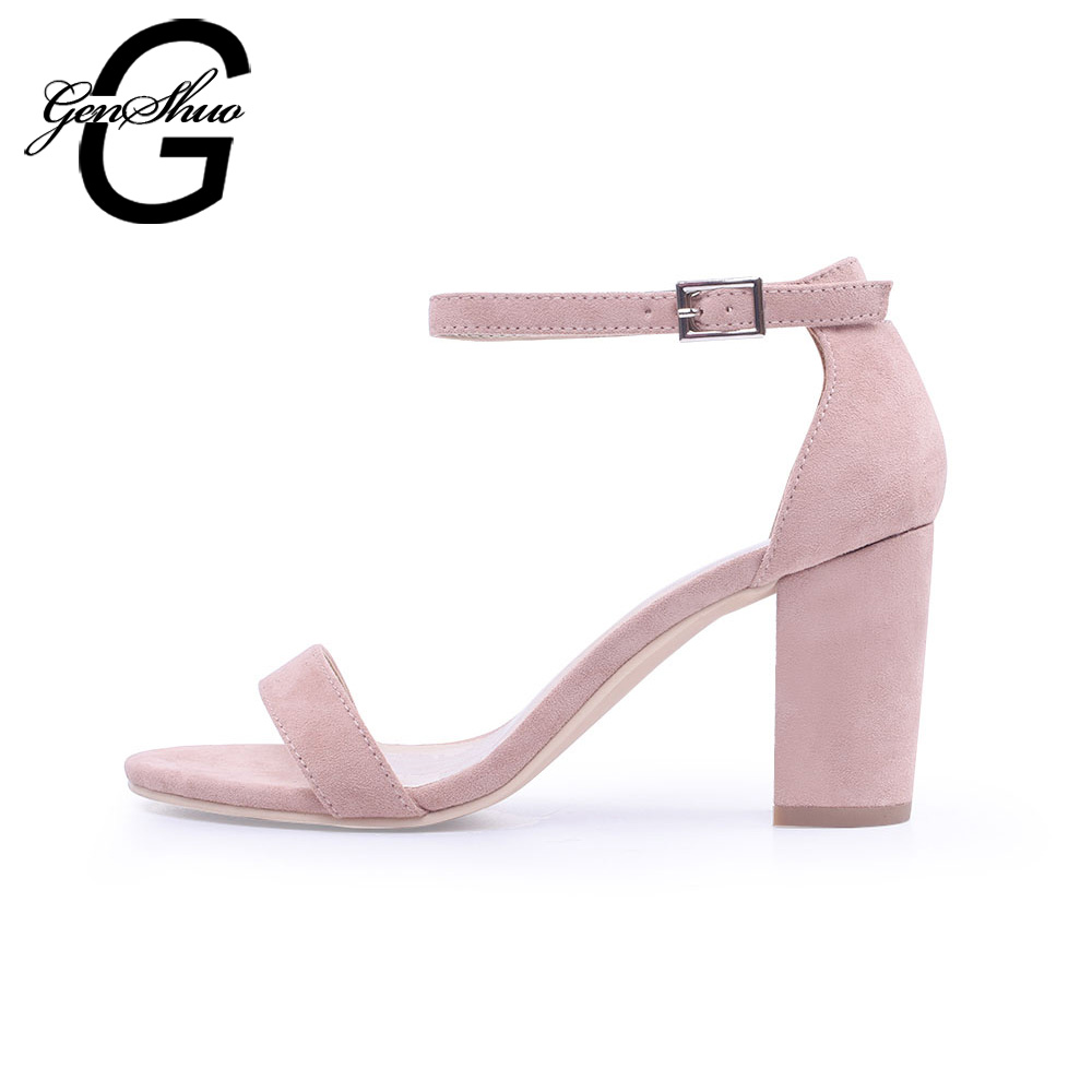 GENSHUO Women Sandals Ankle Strappy Summer Shoes Open Toe Chunky High Heels Sandals Party Dress Sandals Black Plus Big Size 42 genshuo women sandals fashion high heels white polka dots sweet buckle ankle strap sandals women chunky heel open toe size 5 5 8