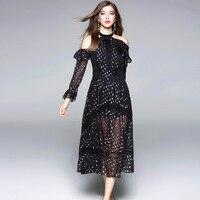 European 2018 Spring New Sexy Black Dress Women Off The Shoulder Long Sleeves Ruffles Retro Chiffon