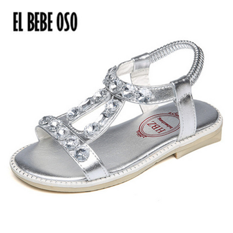 EL BEBE OSO 2018 Beach Shoes Summer Children Sandals Silver Princess Girl Gladiator Party Shoes Child Rhinestone Sandalias Kids