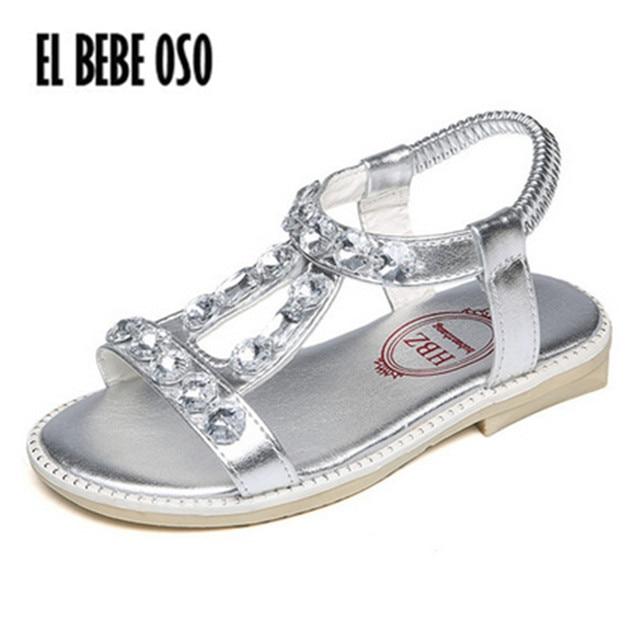 335451846cb EL BEBE OSO 2018 Beach Shoes Summer Children Sandals Silver Princess Girl  Gladiator Party Shoes Child Rhinestone Sandalias Kids