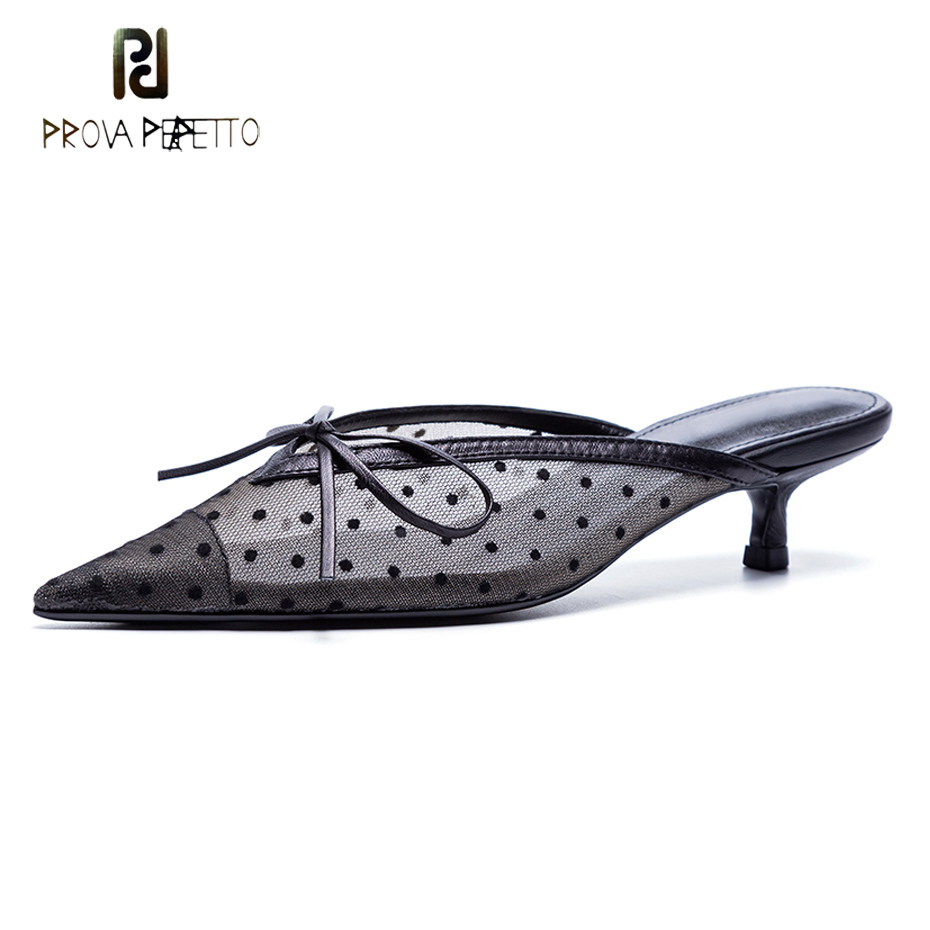 Prova Perfetto popular mesh polka dot slippers women sandal pointed toe kitten heel butterfly knot slides summer lady mules shoe цены онлайн