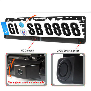 цена на Parking video rear camera in License plate to connect DVD/monitor for car 1 HD camera + 2 sensor embeded frame European license