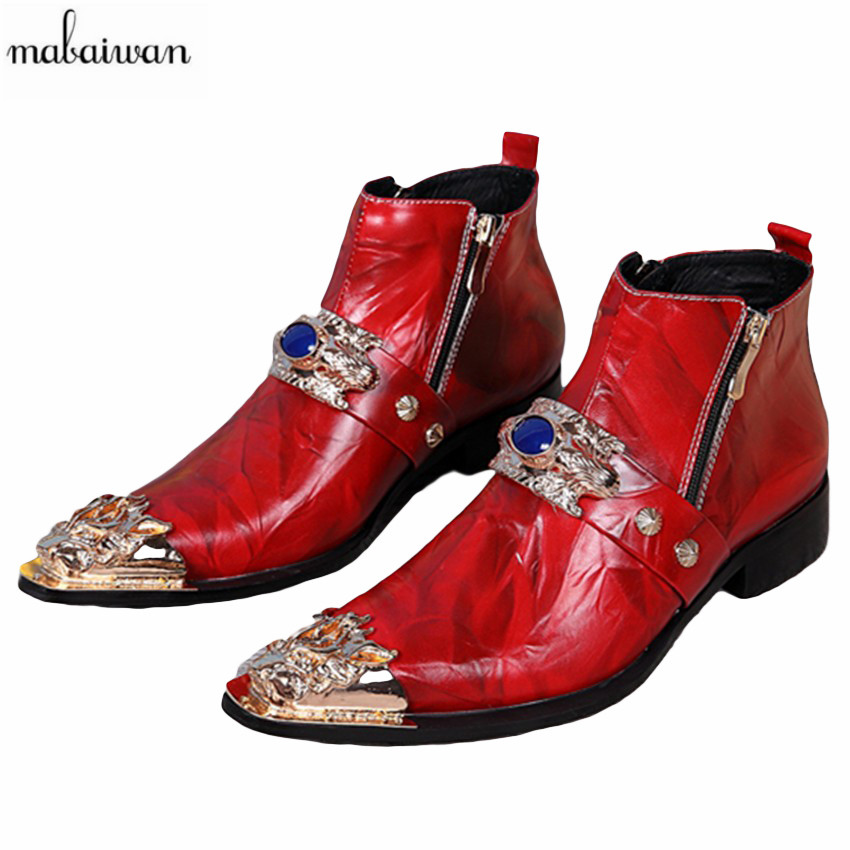 Mabaiwan 2017 Fashion Red Men Wedding Dress Shoes Ankle Boots Real Leather Botas Hombre Cowboy Short Military Boots Men Flats handsome red genuine leather men ankle boots metal pointed toe mens wedding dress shoes high top botas hombre cowboy boots