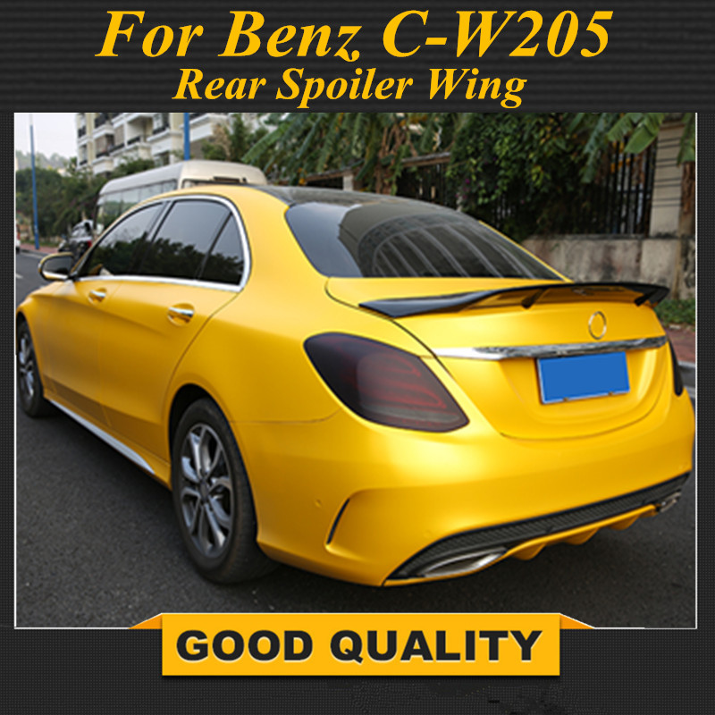 C Class Carbon Fiber <font><b>Rear</b></font> Trunk Lid <font><b>Spoiler</b></font> Wing for <font><b>Mercedes</b></font> <font><b>Benz</b></font> W205 Sedan 4 Door Only 2015-2018 C63 AMG C200 <font><b>C300</b></font> C400 C450 image