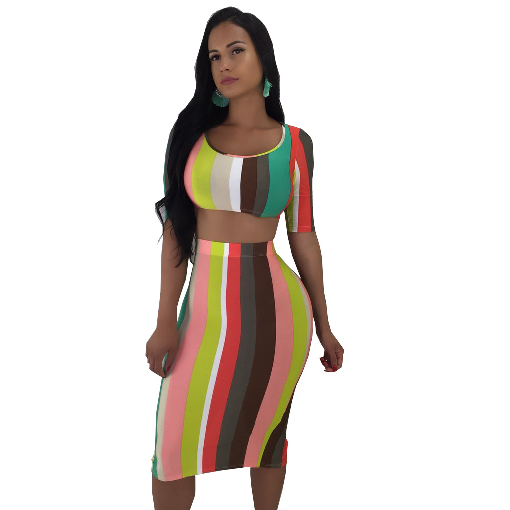 2018 summer 2 two pieces sets women O neck crop top and behind split tiebow skirt sexy club party sets