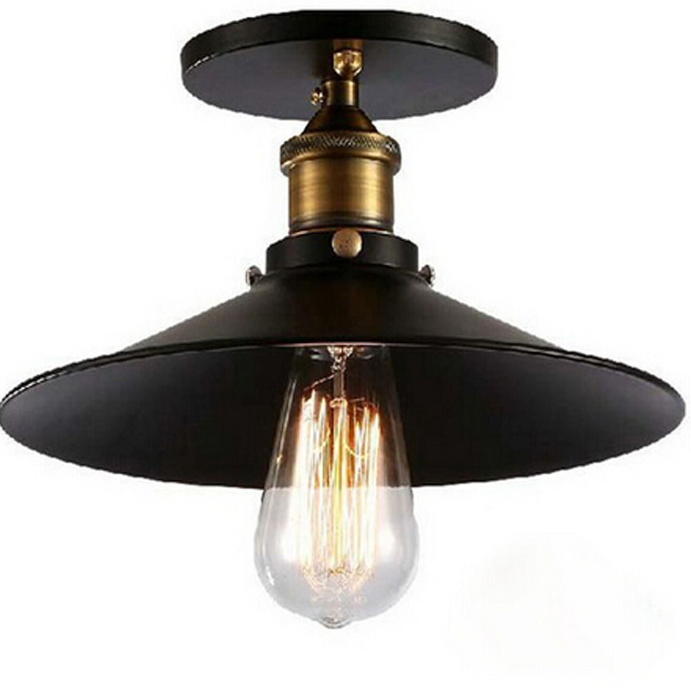 New vintage american e27 ceiling lamp iron black aisle for Balcony lights