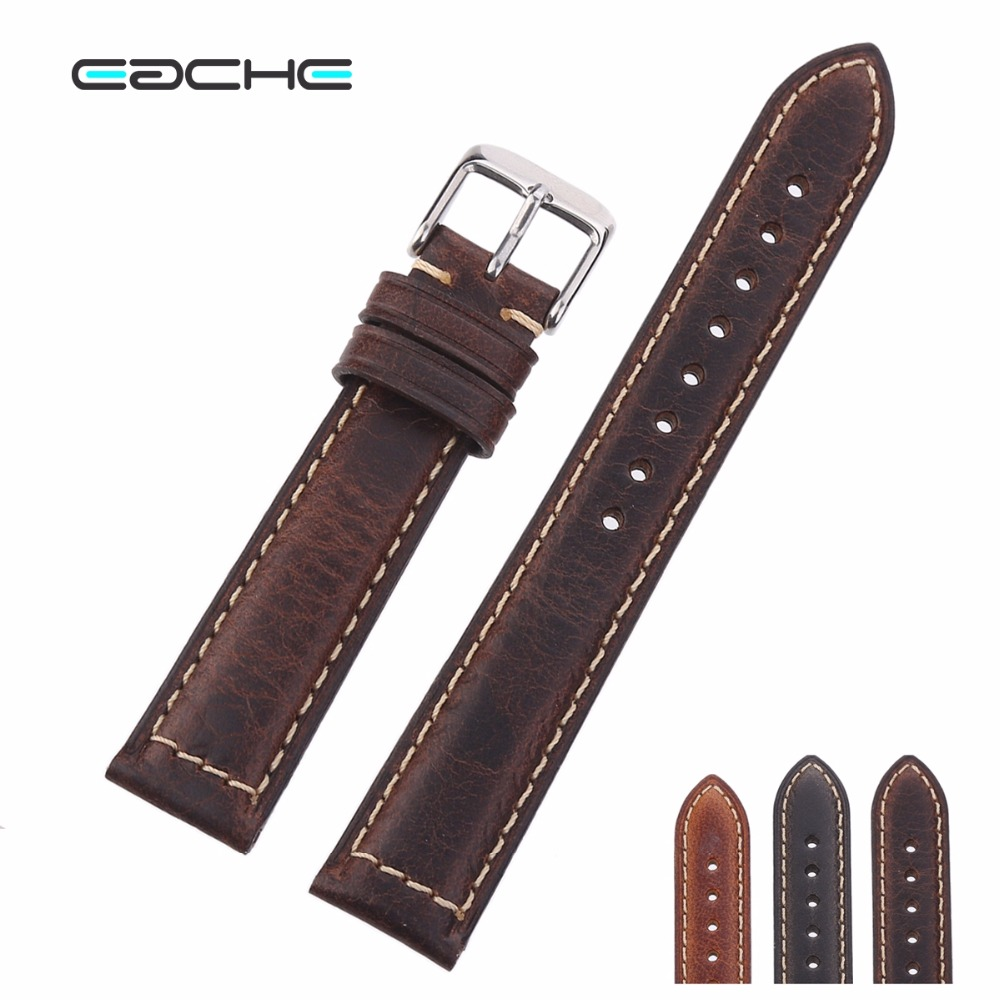 High Quality Oil Wax Genuine Leather Watchband Watch Straps 18mm 20mm 22mm Silver Buckle&Black Buckle More Colors | Watchbands