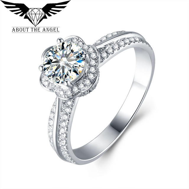Moissanite Ring/Diamond Ring/ Flower Frame Ring/Vintage Ring 14K ...