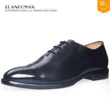 Elanroman Элитный Бренд Новое поступление кожаные мужские туфли классические оксфорды мужские модельные туфли