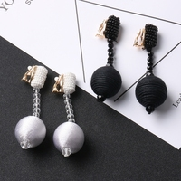 2017 Europe Exaggerated Pure Handmade Beads Beads Earrings Crystal Pendant Long Earrings Ear Without Ear Hole