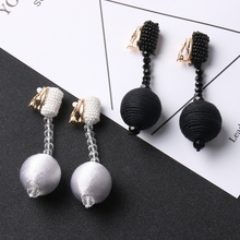 2017 Europe  exaggerated pure handmade beads beads earrings crystal pendant long earrings ear without ear hole female 718