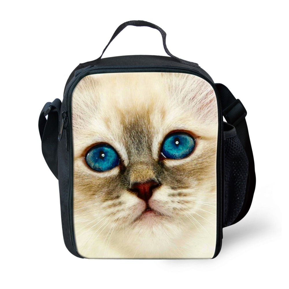 WHOSEPET Spring Tour Picnic Food Bags Women Portable Insulated Lunch Bags Cute Cats Printed for Kids Shoulder Food Bags Totes