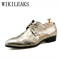 Oxford Shoes For Men Patent Leather Gold Silver Black Wedding Dress Formal Shoes Mens Pointed Toe
