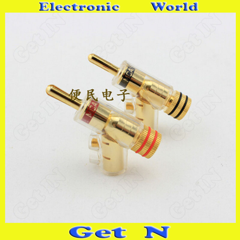 2pcs-20pcs MCA Swiss Brass Banana Connectors Jack Free Welding Lockable Gun Type Audio Speaker Cable Banana Plug Socket