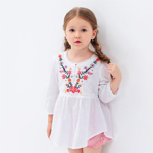 2016 Autumn New Three Quarter Sleeve Shirt 100% Cotton Sweet Children Clothing Flower Embroidery Shirt Baby Girl Clothes Blouse