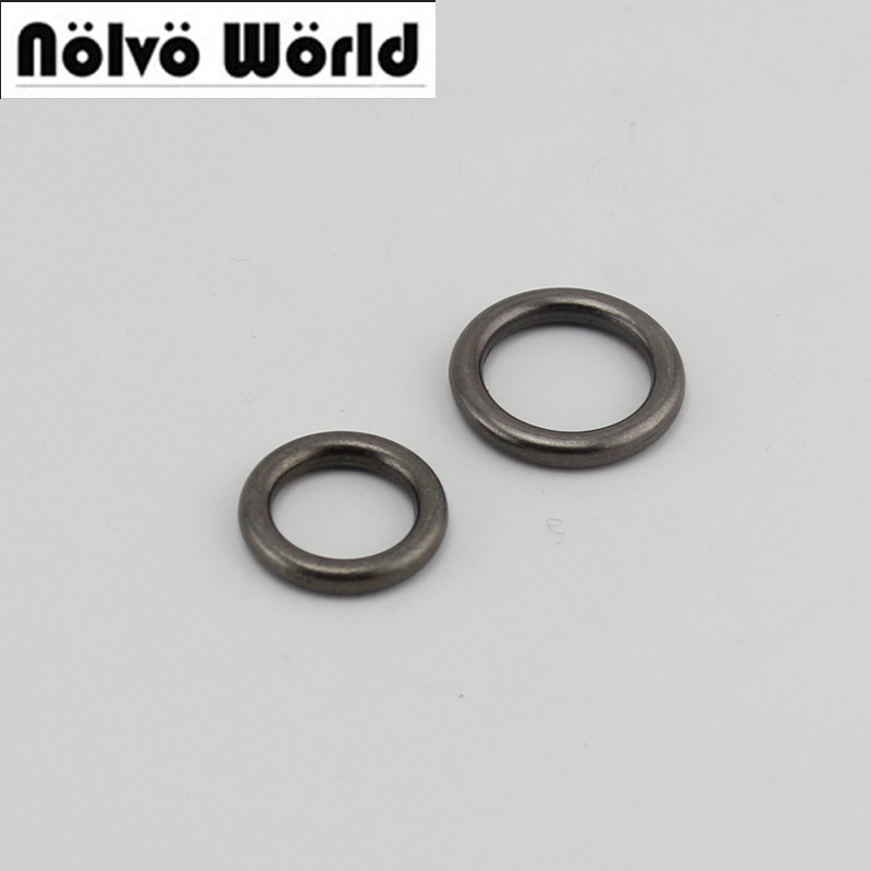 FISHION 100pcs 10pcs Wholesale Inside 15mm 18mm Gunmetal Nickel Snap Welded D Ring Hardware Accessories Handle Connector