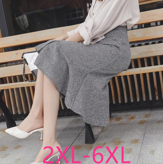2019 autumn winter new plus size casual loose elastic waist plaid long ruffle skirt gray woman large size skirts 3XL 4XL 5XL 6XL 1