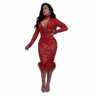 Robe d'hiver 2018 sexy arc Club de Partie Robes Nouvelle Arrivée Femmes sequin de soirée parti robe Longue manches rouge moulante robes