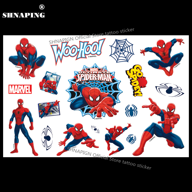 SHNAPIGN Ultimate Spidey Toy Niño Tatuaje temporal Body Art Flash Tattoo Stickers 17 * 10cm Etiqueta engomada del estilo falso impermeable