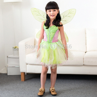 Free Shipping Tinkbell Wings Halloween Party Costume Dress Carnival Kawaii Kids S/M/L Christmas Costume Wholesale/Retails New