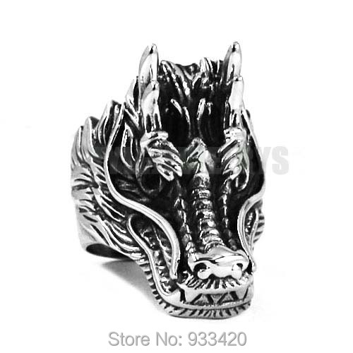 Wholesale Gothic Dragon Ring Stainless Steel Jewelry Classic Punk Dragon Head Motor Biker Men Ring SWR0509B