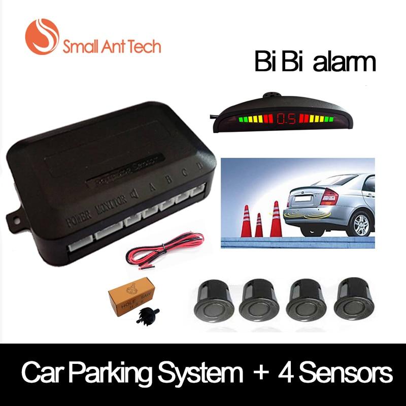 SmallAntTeach Universal coche LED Sensor de aparcamiento con 4 sensores del coche Sensor Reverse Assistance Backup Radar Monitor Detector sistema