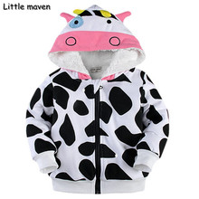 Little maven 2016 winter boys/girls lovely cow hoodies Cotton Warm napping zipper coat kids brand clothes DW004