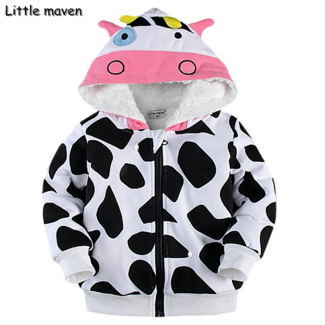 Little maven 2017 winter boys/girls lovely cow hoodies Cotton Warm napping zipper coat kids brand clothes DW004