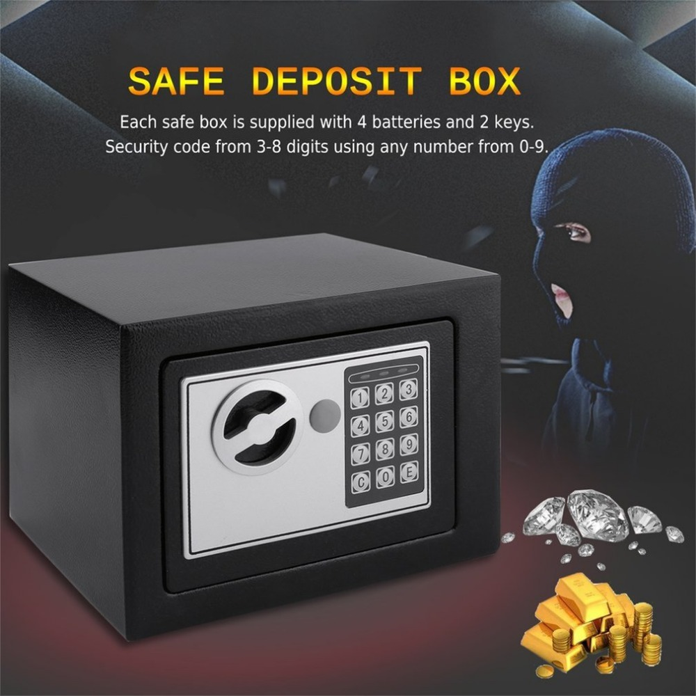 Solid Steel Electronic Safe Box With Digital Keypad Lock 4.6L Mini Lockable Jewelry Storage Case Safe Money Cash Storage Box