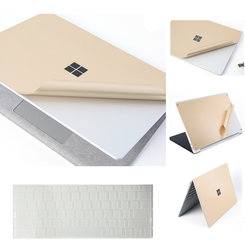 For Microsoft Surface Laptop Anti-scratch Sticker 3 In 1 Gold Full Body Removable Premium Decals With Keyboard Protective Cover