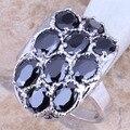 Superb Preto Criado Sapphire Prata Stamped 925 das Mulheres Tamanho do Anel 6/7/8/9 R1275