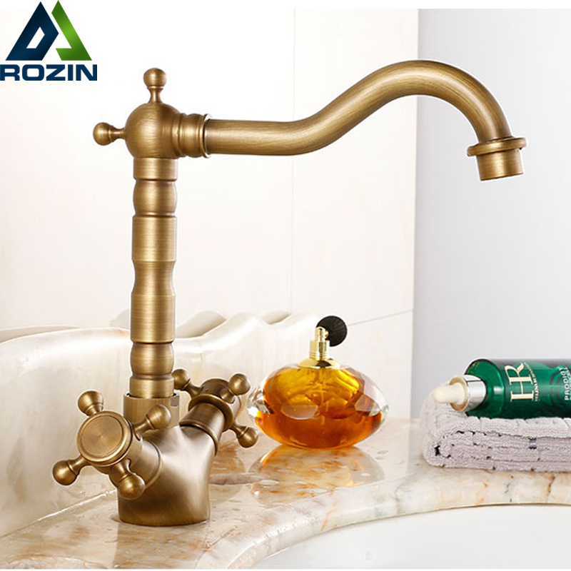Antique Brass Bathoom Kitchen Faucet Swivel Spout  Dual Cross Handles Lavatory Sink Mixer Taps Deck Mounted Hot and Cold Tap antique red copper dual cross handles kitchen sink faucet swivel spout bathroom basin vessel sink mixer taps deck mount wrg002